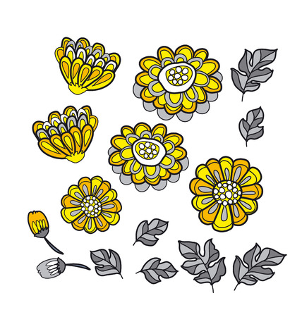 everlasting: yellow decorative stylized floral fall element set. black and gray marigold flower motif