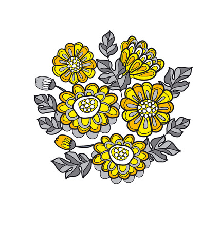 everlasting: yellow decorative stylized daisy floral fall pattern. black and gray flower bouquet Illustration
