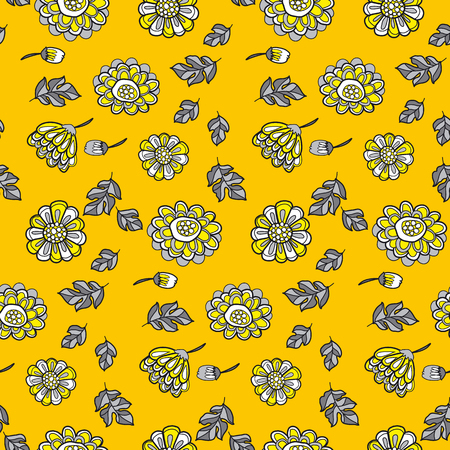 everlasting: yellow decorative floral fall seamless pattern. black and gray illustration flower motif