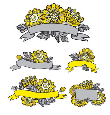 everlasting: yellow decorative stylized daisy floral fall element. flower bouquet with stripe