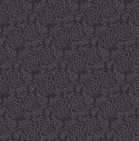 deep dark  laze style tender rose floral abstract illustration of seamless pattern