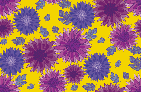 aster: chrysanthemum flower design element. aster floral decorative illustration. fall blossom repeatable motif on yellow. autumn seamless pattern Illustration