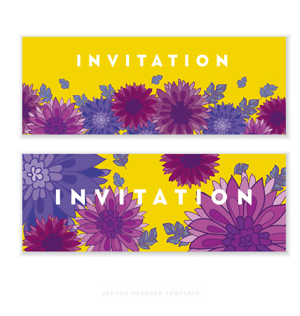 peasant: chrysanthemum flower card template design.  aster floral decorative illustration. fall blossom ion yellow background. autumn flowers rustic peasant style element
