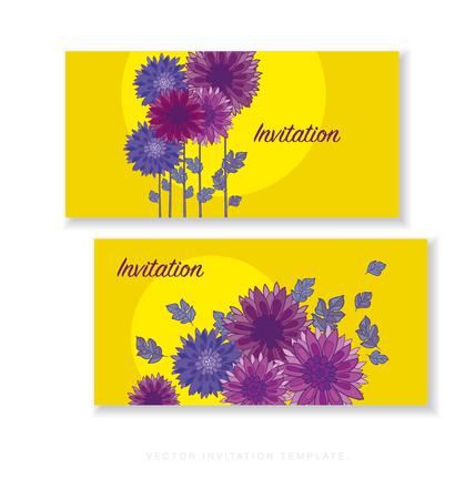 ion: chrysanthemum flower card template design.  aster floral decorative illustration. fall blossom ion yellow background. autumn flowers elegant element Illustration
