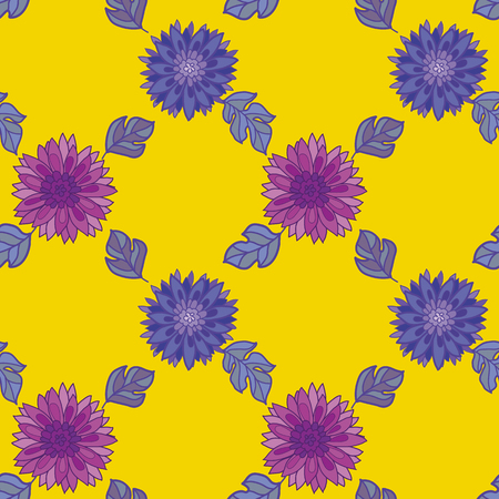 chrysanthemum flower design element. aster floral decorative illustration. fall blossom repeatable motif on yellow. autumn seamless pattern Illustration