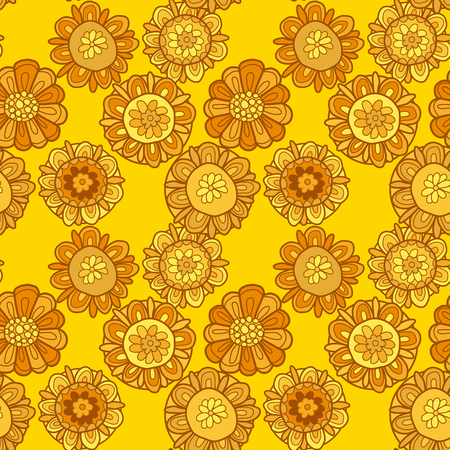 merygold flower seamless pattern. aster floral decorative illustration. fall blossom in gold color motif. autumn flowers rustic peasant style element