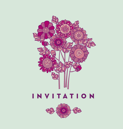 merygold flower card template design. aster floral decorative illustration. fall blossom in violet colors motif. autumn flowers rustic peasant style element