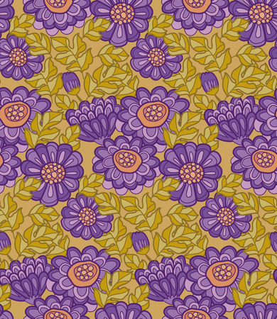peasant: chrysanthemum flower seamless design. decorative aster illustration. fall floral blossom. autumn flowers rustic peasant style fabric