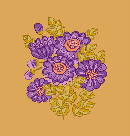 peasant: chrysanthemum flower card template design.  aster floral decorative illustration. fall blossom in violet colors motif. autumn flowers rustic peasant style element