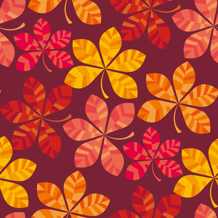 fall colored wallpaper illustration. wrapping paper motif seamless pattern on black background. red yellow chestnut leaves fabric