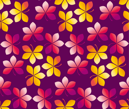 fall colored wallpaper illustration. wrapping paper motif seamless pattern. purple red yellow chestnut leaves carpet