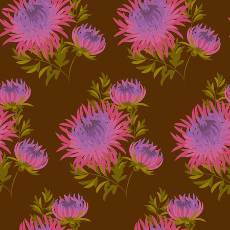fall flower seamless pattern. pink chrysanthemum repeatable motif. autumn purple flower illustration. elegant natural ornament on darck brown background