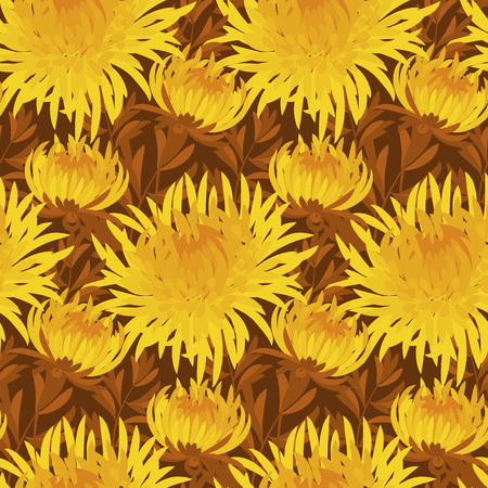 golden daisy: fall flower seamless pattern. yellow chrysanthemum repeatable motif.  autumn gold flower illustration. elegant natural ornament on deep brown background