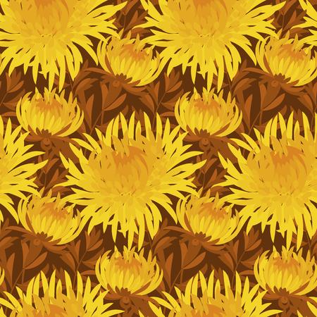 golden daisy: fall flower seamless pattern. yellow chrysanthemum repeatable motif.  autumn gold flower illustration. elegant natural ornament on deep brown background