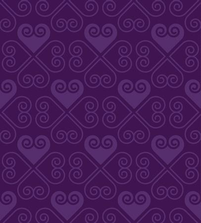 wedding  art: purple pattern with heart in art deco style. seamless motif. love concept heart fabric illustration