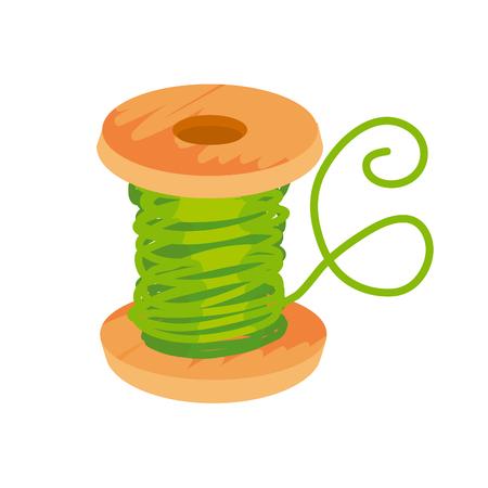 simple flat green thread and bobbin illustration