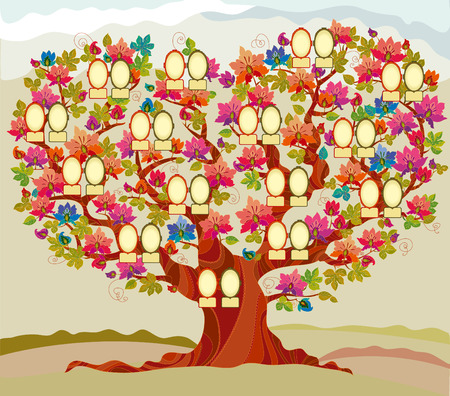 descendants: concept folk style family tree illustration Illustration