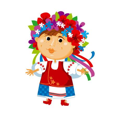 ukrainian traditional: cartoon cute folk ukraine girl illustration Illustration