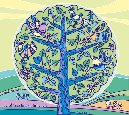 peasant: peasant style bird on the tree illustration Illustration