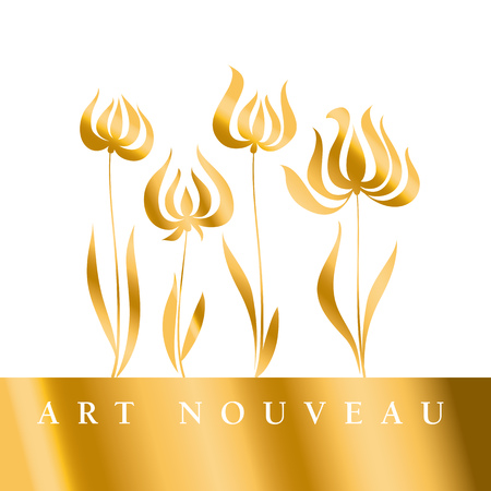 nuvo: gold tulip Art Nouveau style illustration Illustration