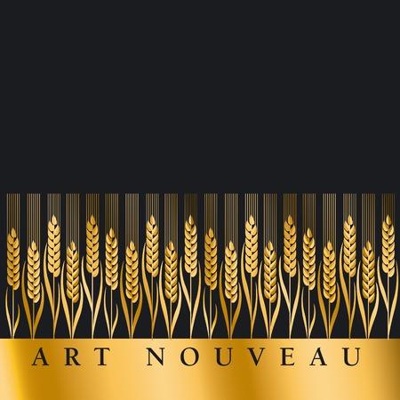 nuvo: gold wheat illustration ion black background Illustration