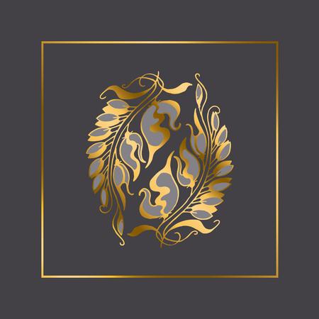 nuvo: gold Art Nouveau style illustration element