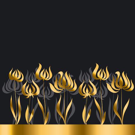 secession: gold tulip Art Nouveau style illustration Illustration