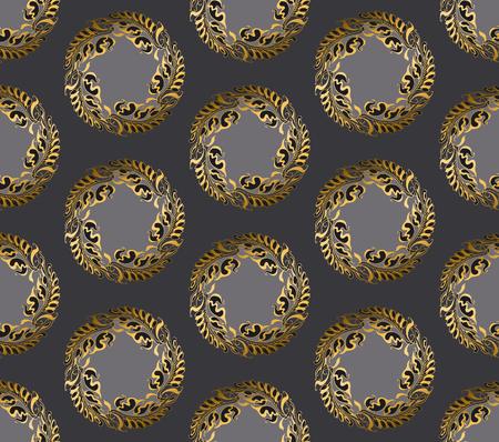 secession: Art Nouveau style gray round pattern illustration