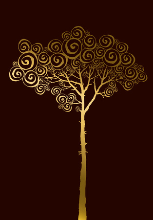 nuvo: concept illustration of gold pine silhouette Illustration