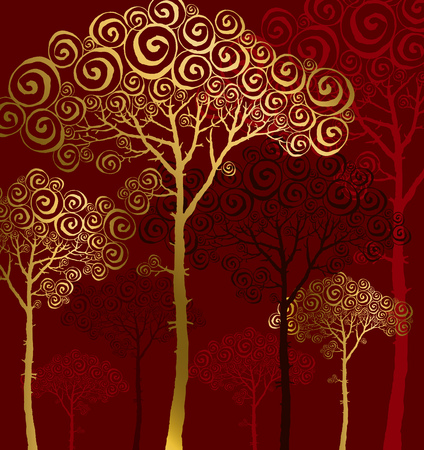 illustration of pine silhouette on red background