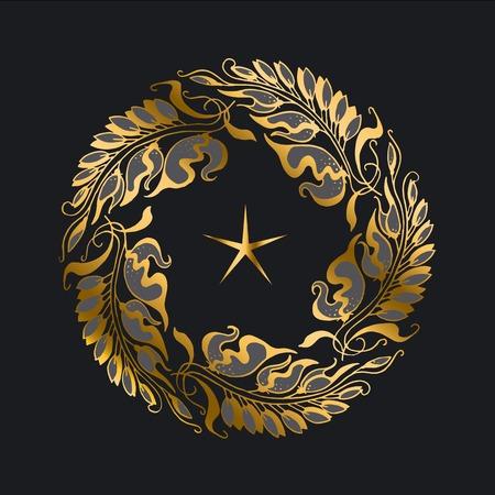 nuvo: gold wreath Art Nouveau style illustration