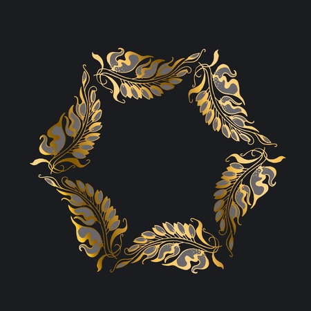 nuvo: gold on black Art Nouveau style illustration Illustration