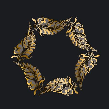 gold on black Art Nouveau style illustration Illustration