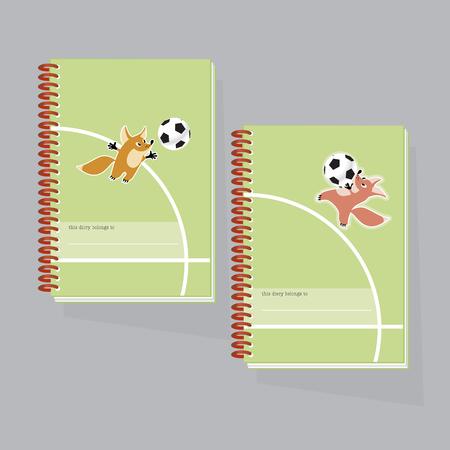 kiddy: illustration of kiddy little fox paling football Illustration