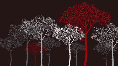 secession: illustration of pine silhouette on black Illustration