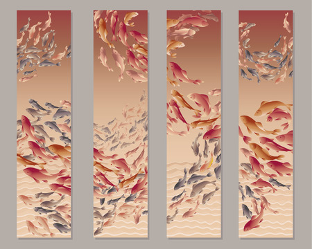 illustration of koi fish in natural elegant color