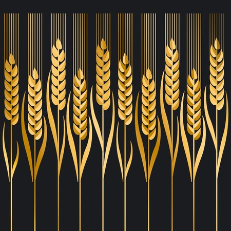 ion: gold wheat illustration ion black background Illustration
