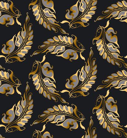 nuvo: gold Art Nouveau style pattern illustration Illustration