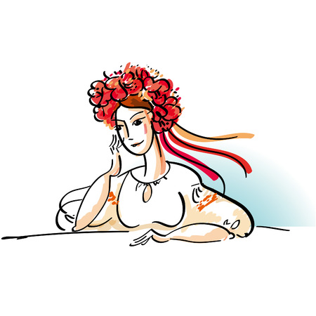 ukraine folk: sketch vector illustration of folk ukraine girl