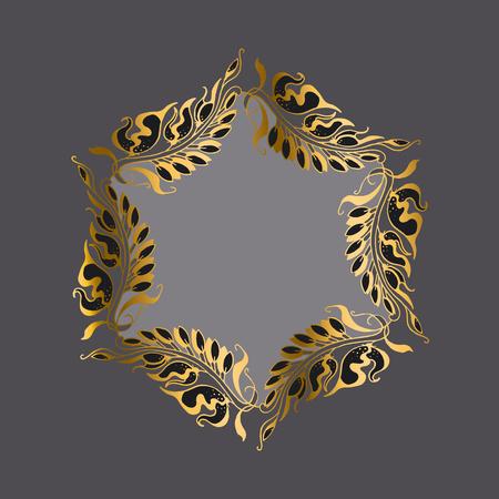 nuvo: gold on gray Art Nouveau style illustration