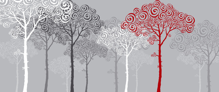 nuvo: concept illustration of red pine silhouette Illustration