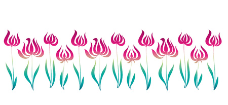 jugendstil: elegant illustration. pink decorative style tulip line