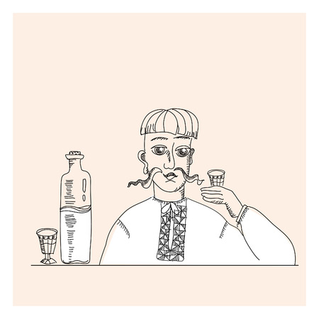 peasant: man and vodka in peasant style illustration