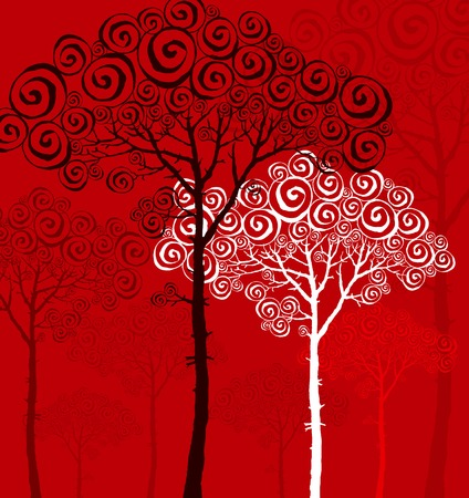nuvo: illustration of pine silhouette on red background