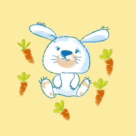 kiddy: illustration of kiddy white bunny with carrot