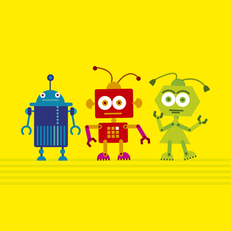 colorful cute robot set on yellow background