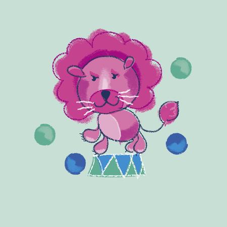 kiddy: illustration of kiddy pink circus lion Illustration