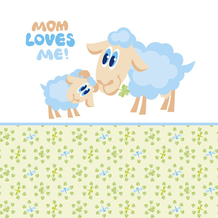 nice butt: illustration of sheep mom and baby