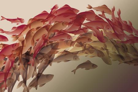 Illustration de poissons de koi couleur élégante naturelle Banque d'images - 65973767