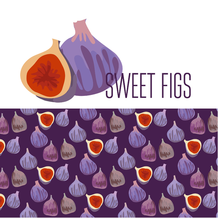 fig: simple flat illustration of fresh fig pattern